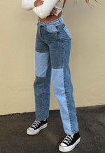 Blue Denim Patchwork Jeans