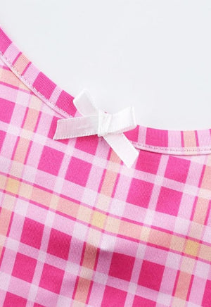Load image into Gallery viewer, Plaid Pink Bow Cami
