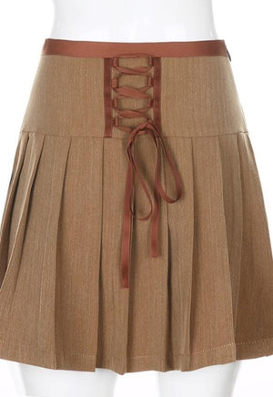 Jada Brown Pleated Skirt