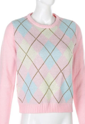 I'm Dreamy Pink Argyle Sweater