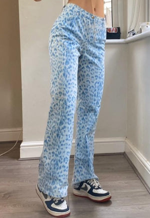 Load image into Gallery viewer, Blue Leopard High-Waisted Pants
