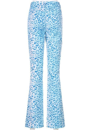 Blue Leopard High-Waisted Pants