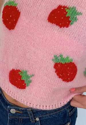 Strawberry Knit Sweater Vest
