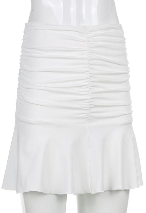 Phoebe White Rouched Skirt
