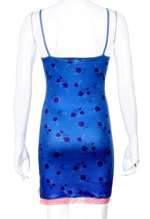 Load image into Gallery viewer, Claire Blue Floral Cami Dress