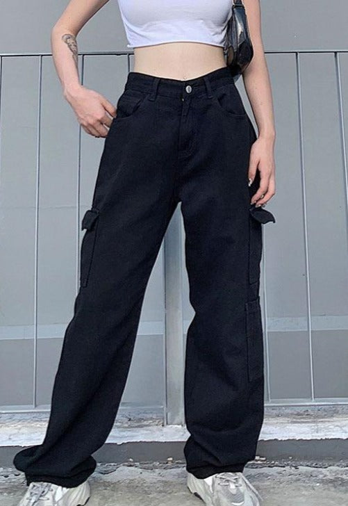 Load image into Gallery viewer, Black Cargo Pants