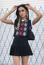 Vara Black Argyle Sweater