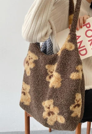 Fuzzy Teddy Bear Bag