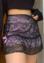 Marina Black Lace Mesh Skirt