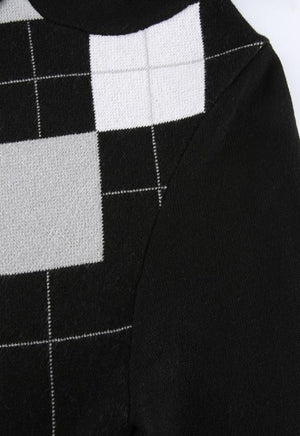 Black Argyle Zip-Up Jacket