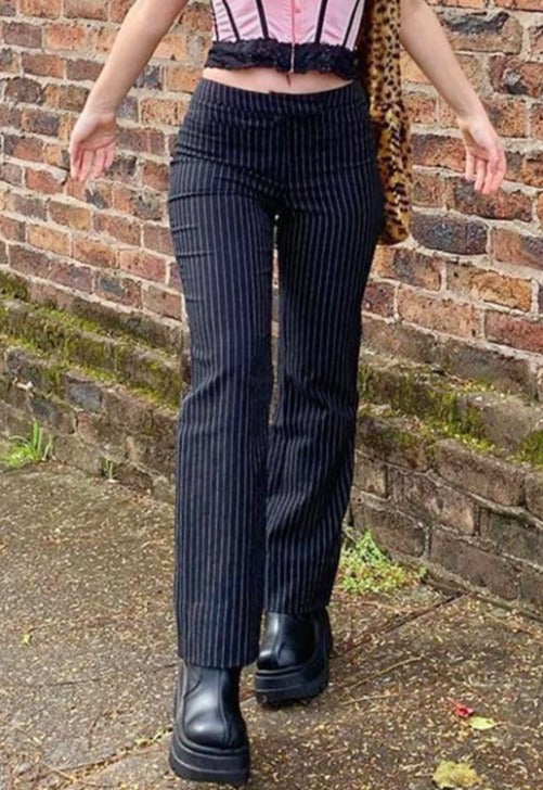 Cassie Black Striped Trousers