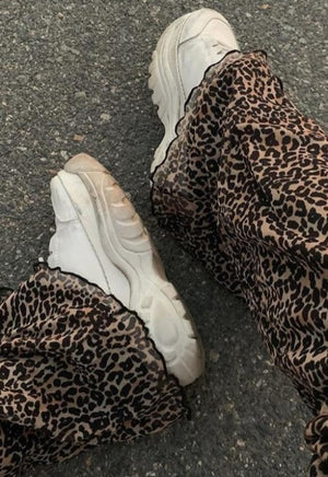 Brown Leopard Flare Joggers