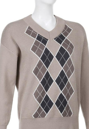 Piper Brown Argyle Sweater