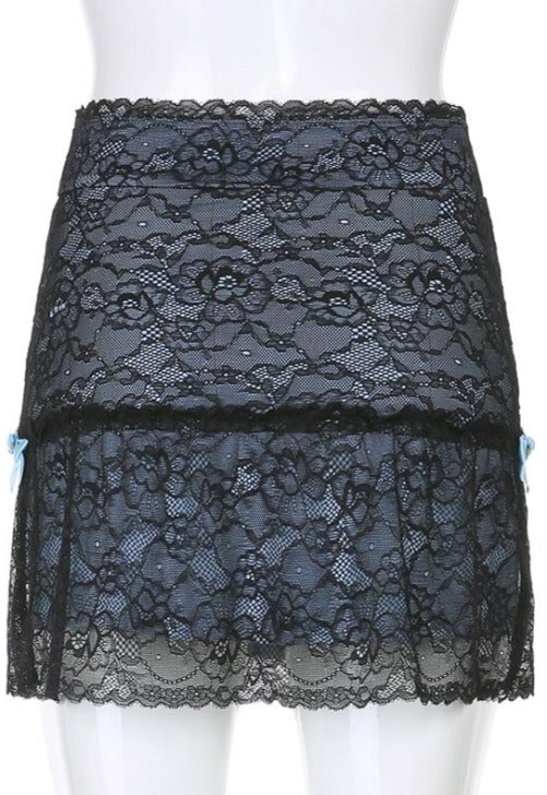 Load image into Gallery viewer, Marina Black Lace Mesh Skirt