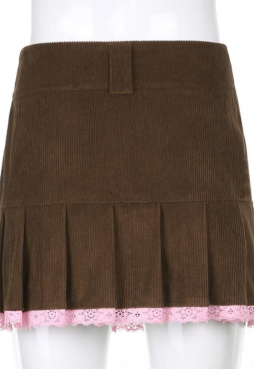 Load image into Gallery viewer, Brown Pleated Corduroy Lace Skirt