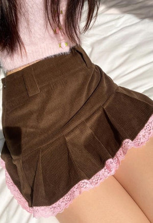 Brown Pleated Corduroy Lace Skirt