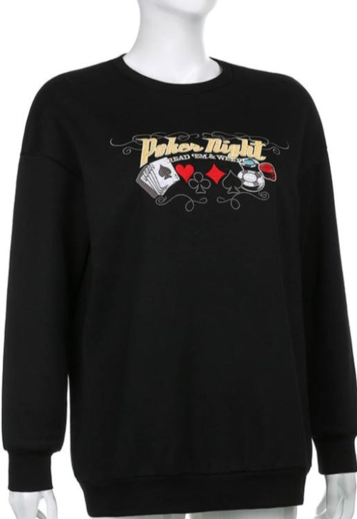 Poker Night Black Crewneck Sweater