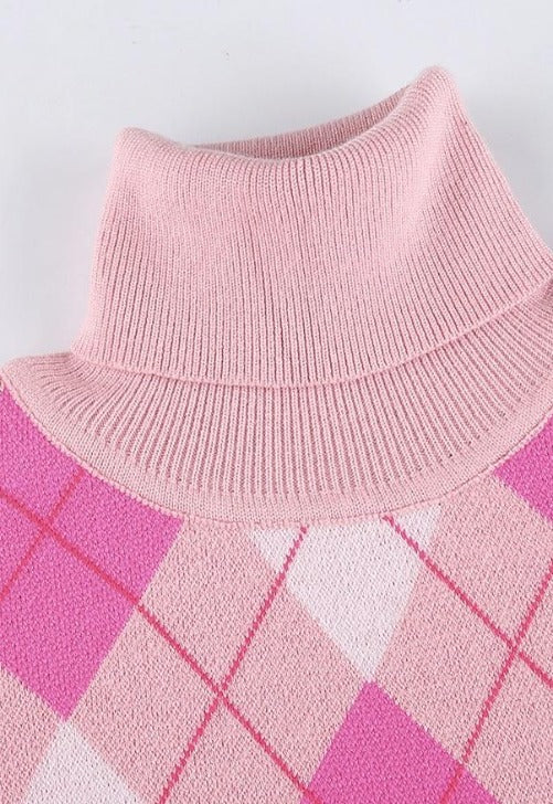 Load image into Gallery viewer, Ronnie Pink Argyle Turtleneck Sweater