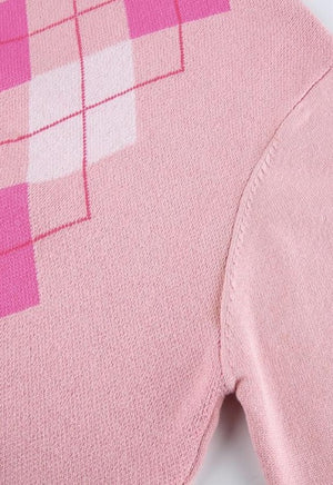 Ronnie Pink Argyle Turtleneck Sweater