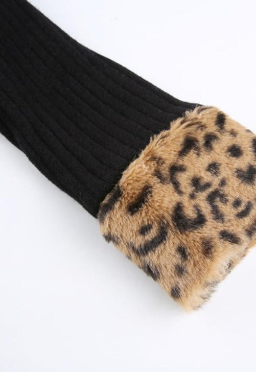 Gia Collared Leopard Fur Zip-Up