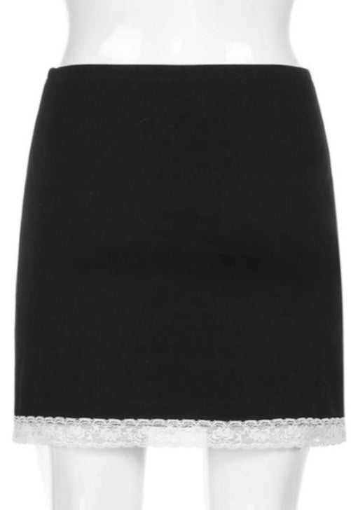 Load image into Gallery viewer, Nora Black Lace Mini Skirt