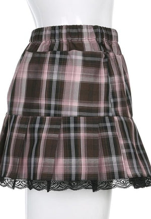Thea Plaid Lace Pleated Skirt