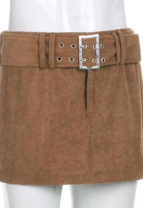 Rina Corduroy Belt Skirt