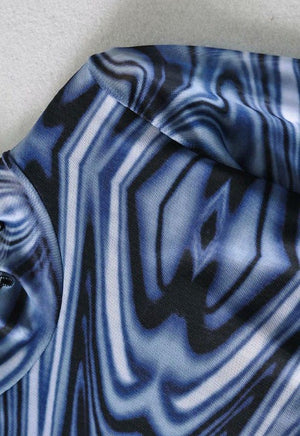 Load image into Gallery viewer, Izzy Blue Swirl Mesh Top