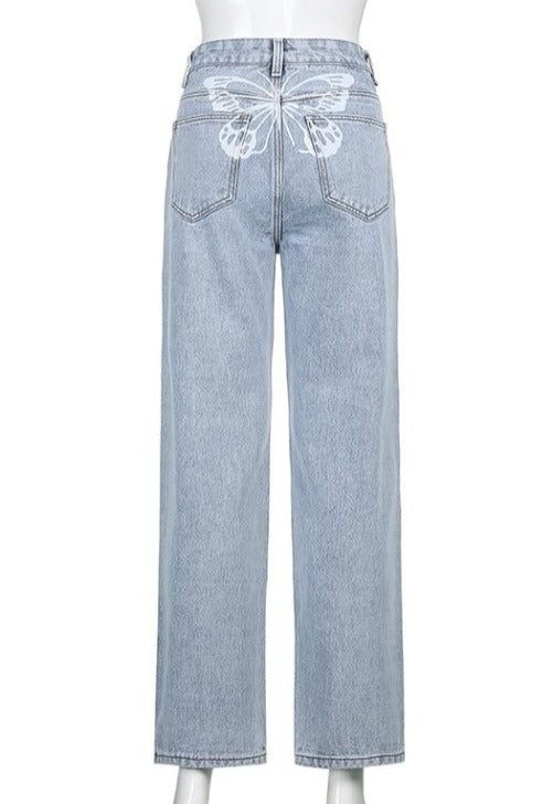 Butterfly Back Light-Wash Jeans