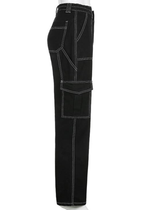 Vivian Black Cargo Carpenter Jeans