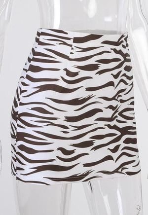 Brown Zebra Print Mini Skirt