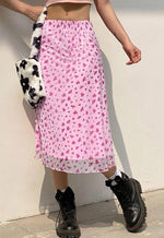 Cecilia Pink Floral Midi Skirt