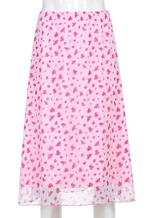 Load image into Gallery viewer, Cecilia Pink Floral Midi Skirt