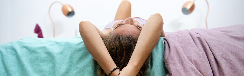 Woman lying on her back