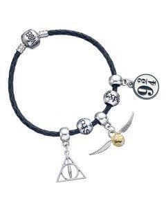 Harry Potter Charm Set Black Leather Bracelet/Deathly Hallows/ Snitch/ Platfrom 9 3/4/ 2 - House Of Spells