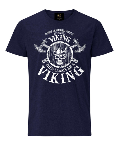 Always Be Viking T-Shirt with Axe and Shield- Navy