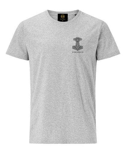 Thor Hammer Embroidered T-Shirt -Grey