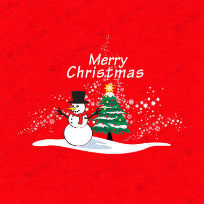 Christmas Tree With Snowman T-Shirt Red