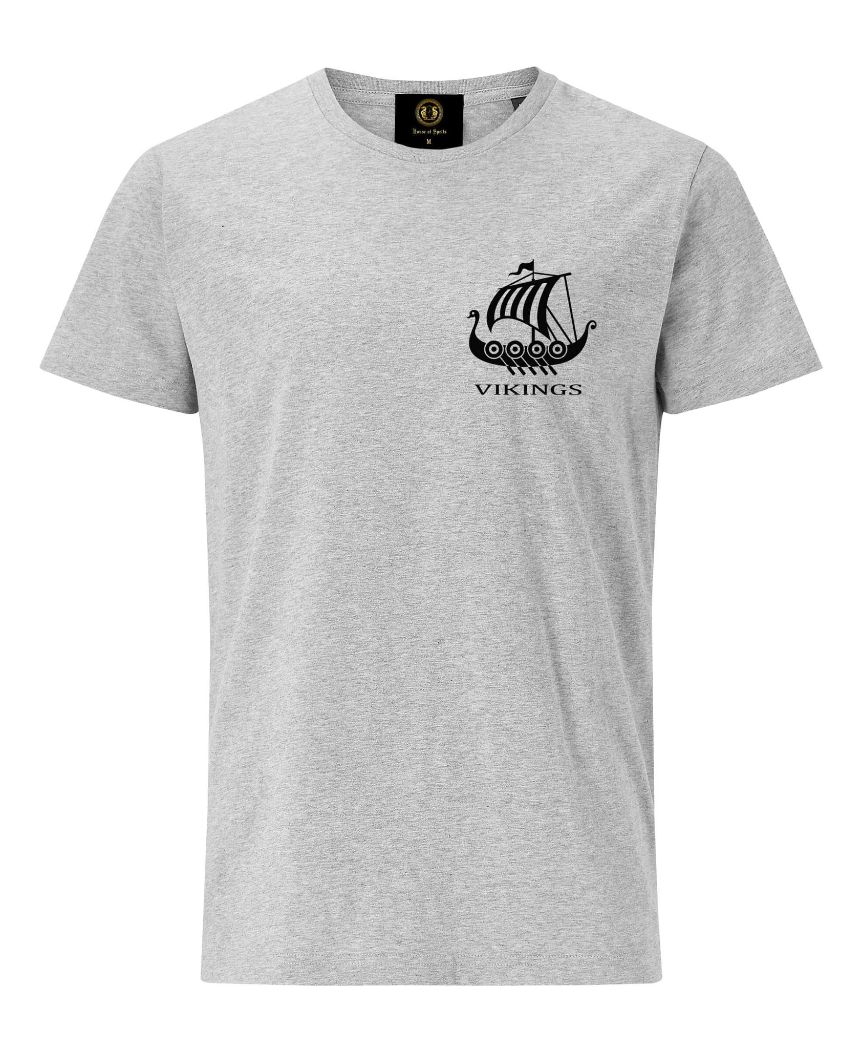Embroidered Viking Boat T-Shirt- Grey