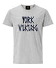 York Viking In Runes Printed T-Shirt- Grey