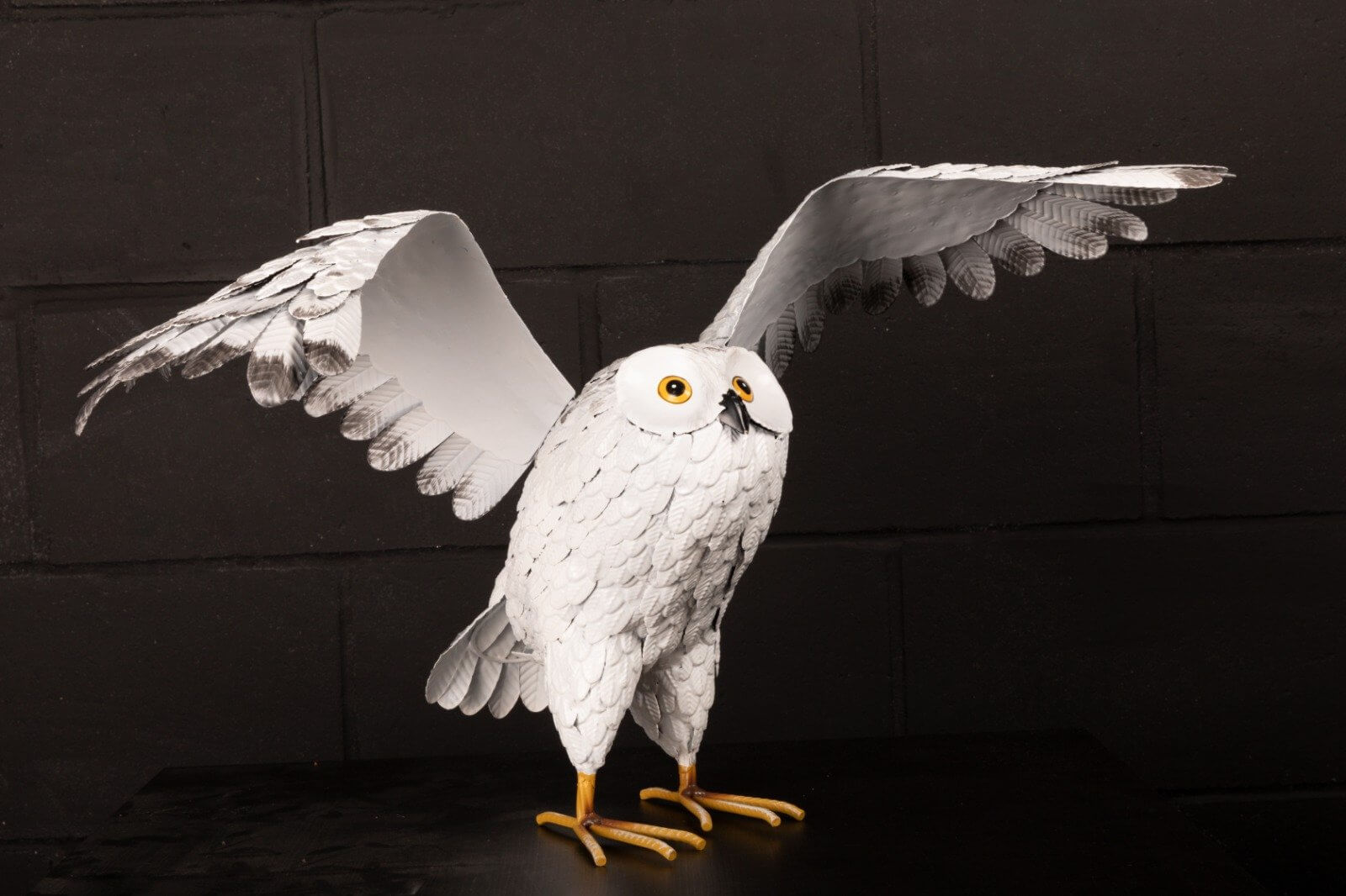 Metal Snowy Owl- Wings Outstretched