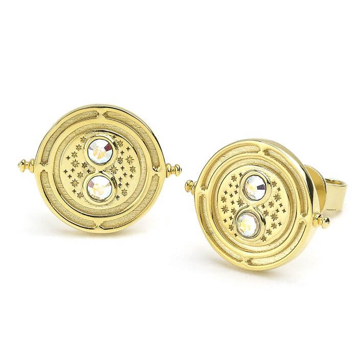 Time Turner Gold Plated Stud Earring with Swarovski Crystal Elements