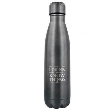 Official GAME OF THRONES - I DRINK AND I KNOW THINGS METAL DRINKS BOTTLE at the best quality and price at House Of Spells- Harry Potter Themed Shop In London. Get Your GAME OF THRONES - I DRINK AND I KNOW THINGS METAL DRINKS BOTTLE now with 15% discount using code FANDOM at Checkout. www.houseofspells.co.uk.