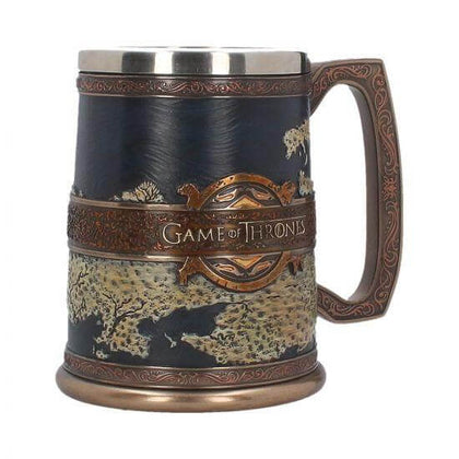 Official The Seven Kingdoms Game of Thrones map on a Tankard (GOT) 14cm at the best quality and price at House Of Spells- Fandom Collectable Shop. Get Your The Seven Kingdoms Game of Thrones map on a Tankard (GOT) 14cm now with 15% discount using code FANDOM at Checkout. www.houseofspells.co.uk.