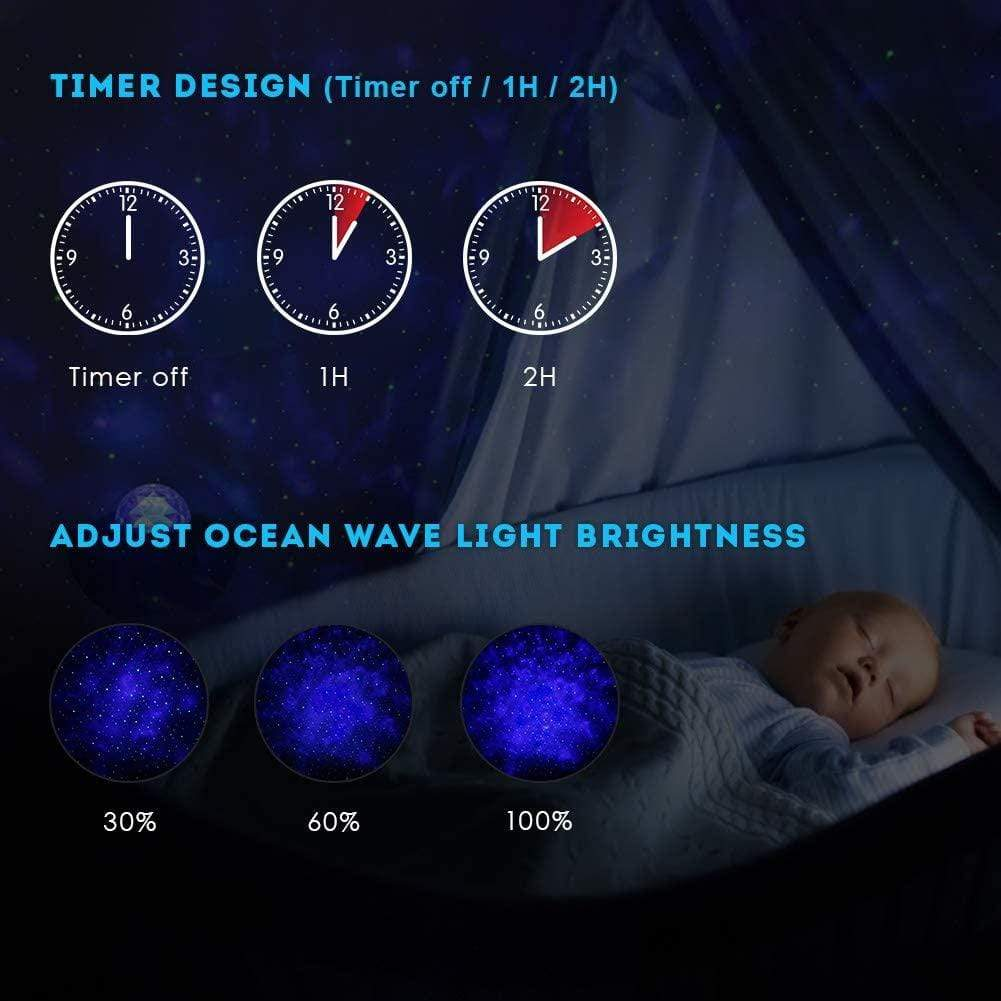 Galaxy Star Lights Ocean Wave Projector Night Light ( Built-in Music Speaker and Remote Controller )