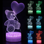 Kid Light Night 3D LED Night Light Creative Table Bedside Lamp Romantic Heart Bear light Kids Gril Home Decoration Gift D30 - Morpheus Box
