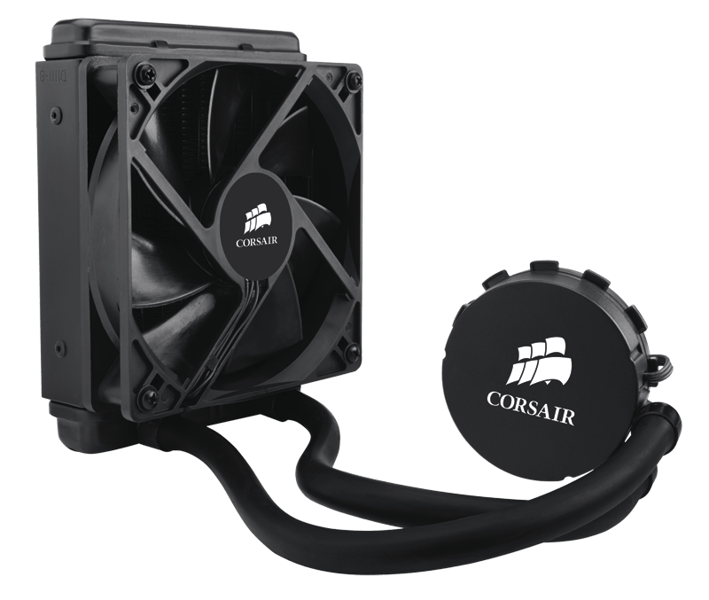 Corsair Hydro Series H55, Compatible with Intel (LGA115x, LGA1366, LGA 2011) and AMD (AM2, AM3, FMx), 120mm Radiator