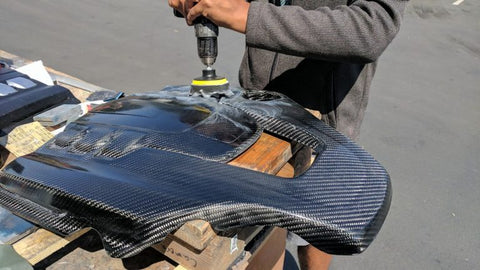 Maserati Engine Cover Carbon Fiber Buffing