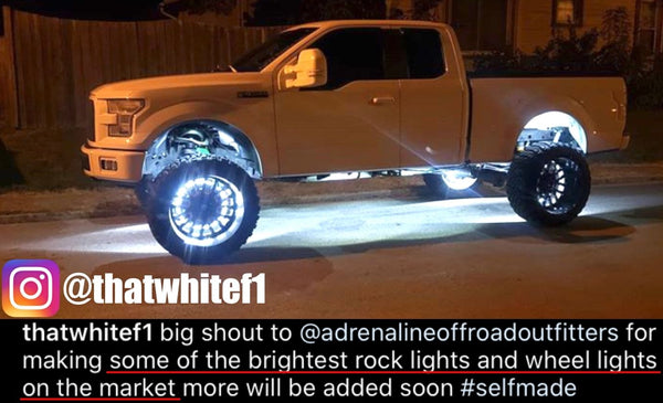 Single Row RGB+W Wheel Ring Lights 4 Piece Set - Adrenaline Offroad Outfitters