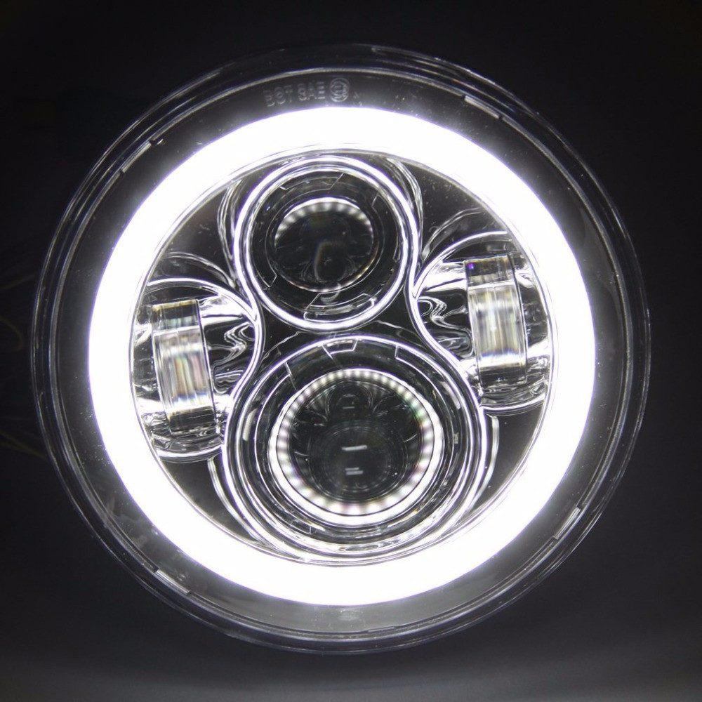 "White Halo 7"" Blacked out LED Headlight - Adrenaline Offroad Outfitters"